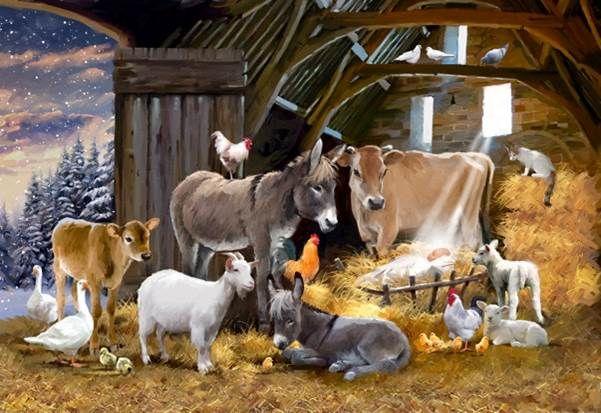 40 X 50 cm Crystal  ART KITS - Canvas Frames  Nativity Farm: Richard Macneil 40x50cm Crystal Art Kit
