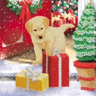 CRYSTAL ART CARDS 18 x18 cm Labrador Pup