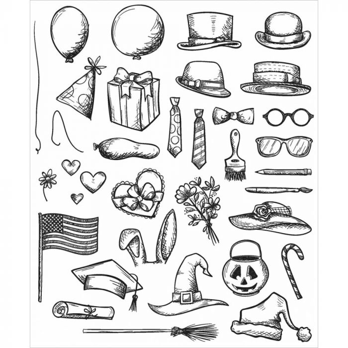 CRAZY THINGS - CLING RUBBER STAMP SET TIM HOLTZ COLLECTION