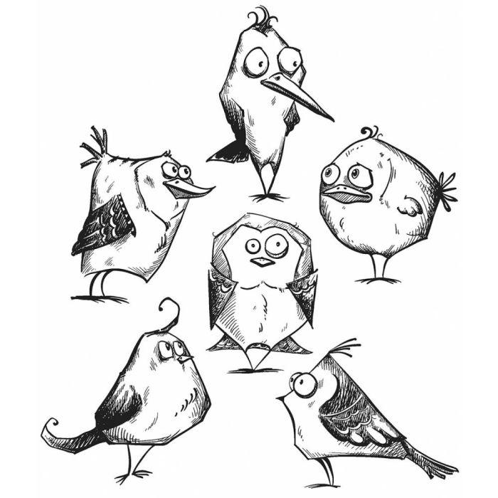 Tim Holtz Cling Rubber Stamp Set Bird Crazy