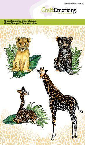 CraftEmotions clearstamps A6 - giraf met jong, welpjes GB