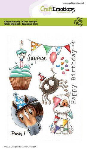 CraftEmotions clearstamps A6 - Party 1 Carla Creaties