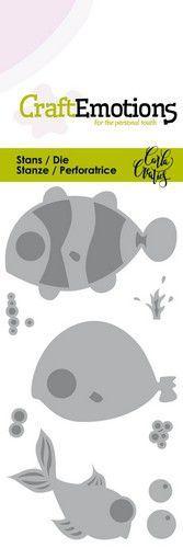 CraftEmotions Die - Ocean - vissen Card 5x10cm Carla Creaties