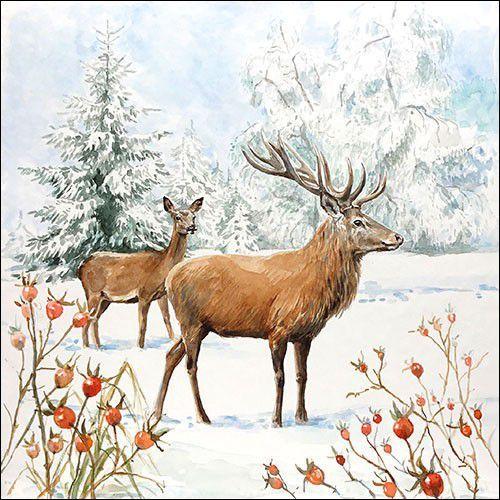 CraftEmotions servetten 5st - Herten in de sneeuw 33x33cm Ambiente