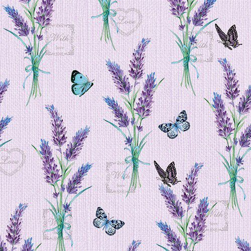 CraftEmotions servetten 5st - Lavender With Love Lilac 33x33cm Ambiente 13314226