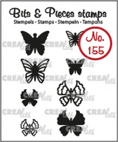 Crealies Clearstamp Bits & Pieces 8x Mini Vlinders 5 + 6  max. 13x12 mm
