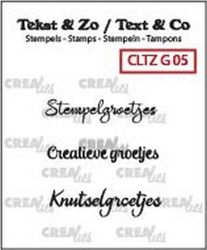 Crealies Clearstamp Tekst&Zo Groetjes 5 (NL) 3x max 31mm