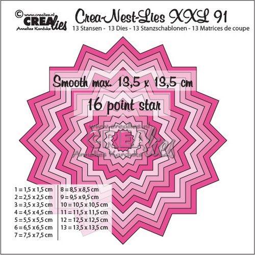 Crealies Crea-Nest-Lies XXL no 91 gladde 16 puntige ster 13