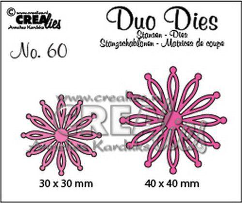 Crealies Duo Dies no. 60 open Bloemen 25 30 mm - 40 mm