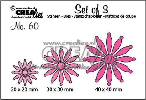 Crealies Set of 3 no. 60 dichte Bloemen 25 20 mm - 30 mm - 40 mm