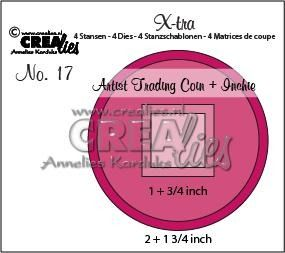 Crealies X-tra no. 17 Artist Trading Coin and Inchie  1 + 3-apr inch - 2 + 1 3-apr inch