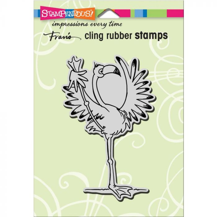 Stampendous Cling Stamp Yoga Flamingo