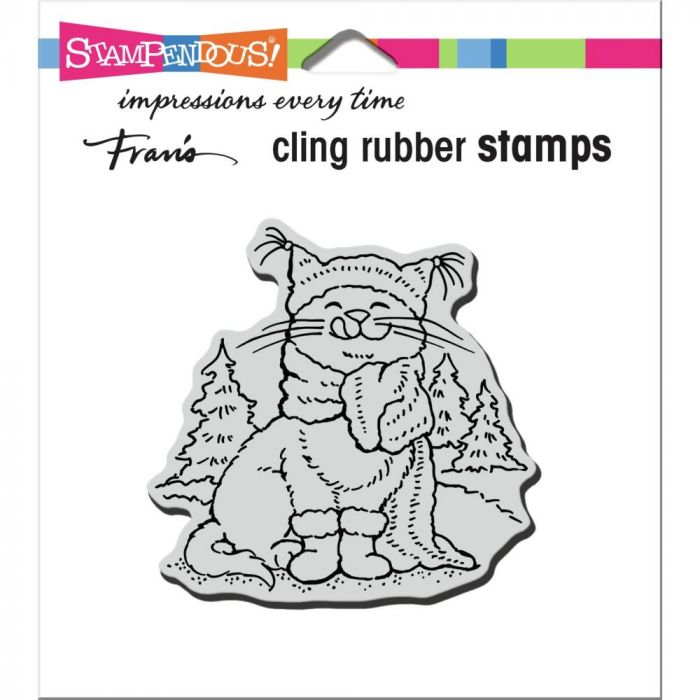 Stampendous Cling Stamp Scarf Kitty
