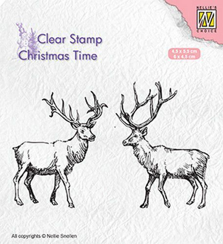 Nellie's Choice Clear stempel Two reindeer