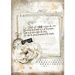 Stamperia Rice Paper A4 Romantic Journal Manuscript and Clock