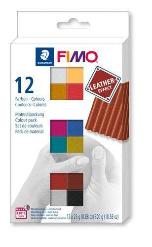 Fimo Effect leather set - colour pack 12 st /12x25gr