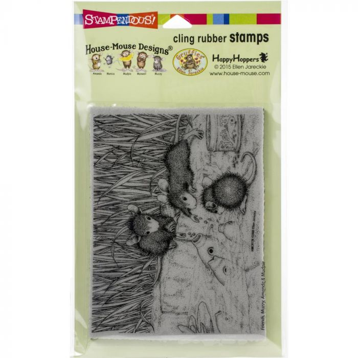Stampendous House Mouse Cling Stamp Feeding Koi