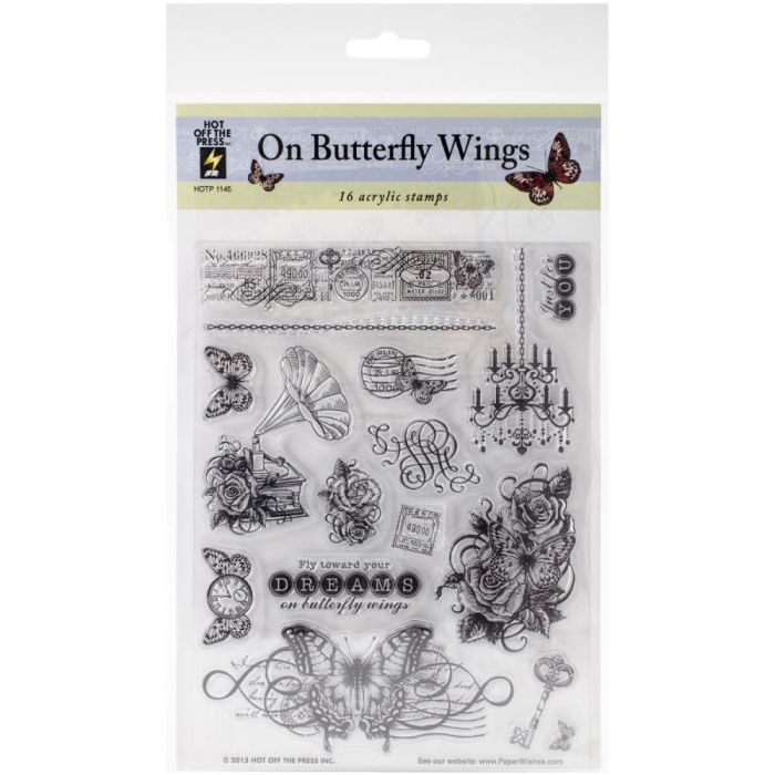 Hot Off The Press Acrylic Stamps Sheet, On Butterfly Wings