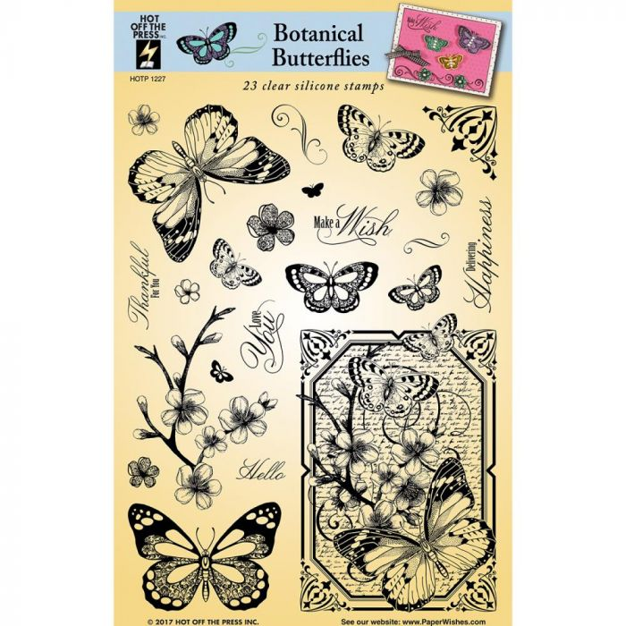 Hot Off The Press Acrylic Stamps Botanical Butterflies