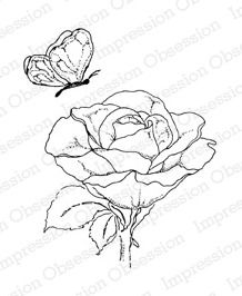 Impression Obsession Cling mounting stamp Rose & Butterfly