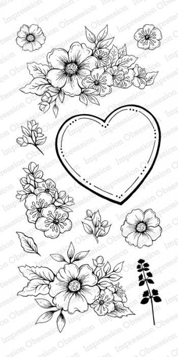 Impression Obsession Clear stamp set Floral Heart Set