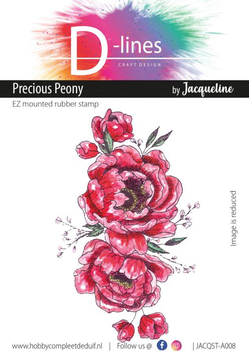 D-Lines EZ mounted rubber stamps Precious Peony