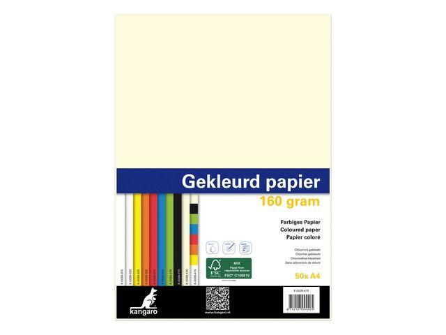 papier Kangaro A4 160gr pak a 50 vel (10x5) assorti