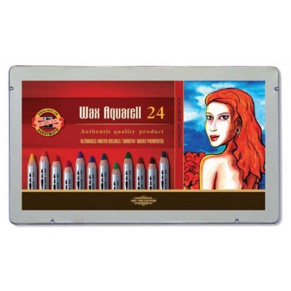 Wax Aquarell Set 24 colours, metal case 8284PL