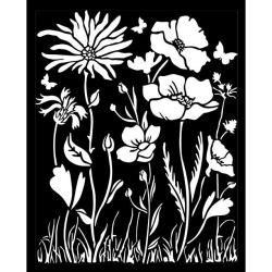 Stamperia Thick Stencil 20x25cm Atelier Poppy and Flower