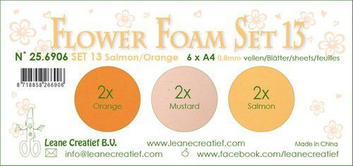 LeCrea - Flower Foam set 13 6 vl 3x2 Zalm-Oranje  A4