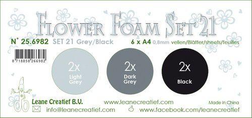LeCrea - Flower Foam set 21 6 vl 3x2 Grijs-Zwart  A4