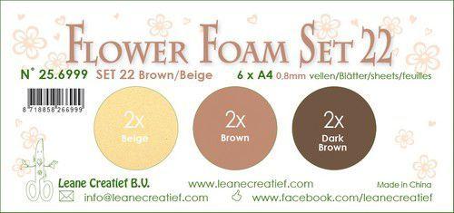 LeCrea - Flower Foam set 22 6 vl 3x2 Bruin-Beige  A4