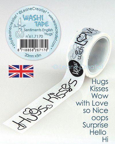 LeCrea - Washi tape Engelse teksten Hugs 20mmx5m.