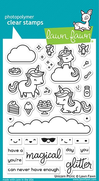 Lawn Fawn 4x6 clear stamp set unicorn picnic