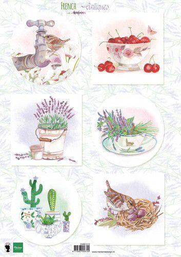Marianne Design Knipvellen Franse antiek lavendel A4