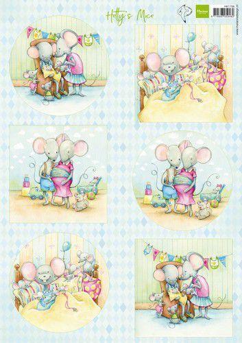 Marianne Design Knipvellen Hetty's pasgeboren muizen A4