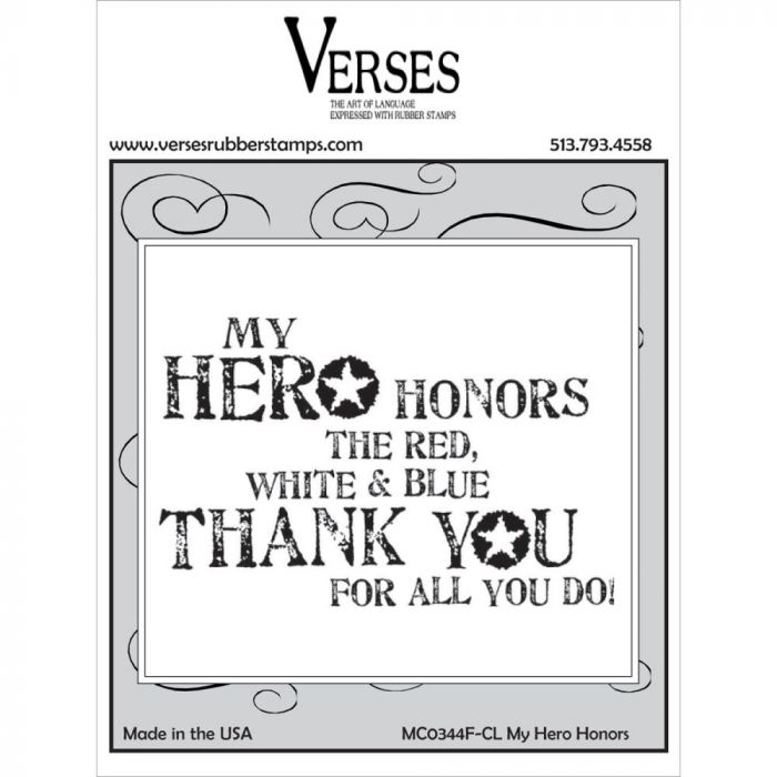 Verses Cling Mounted Rubber Stamp My Hero Honors