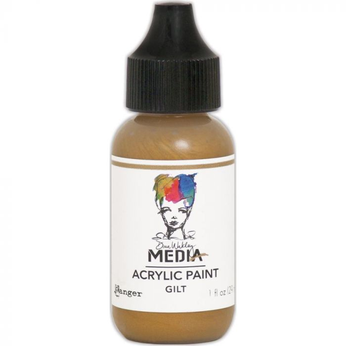 Dina Wakley Media Metallic Acrylic Paint 1oz Gilt