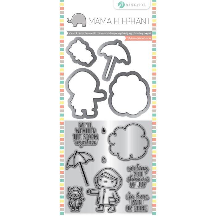 Mama Elephant Stamp & Die Set Showers Of Joy