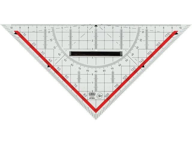 geodriehoek Möbius & Ruppert 20cm plexiglas transparant voor technisch tekenen
