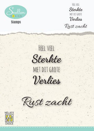 Nellie's Choice Clear Stamps - (NL) Heel veel sterkte… Dutch Condolence Text Clear Stamps 53x67mm