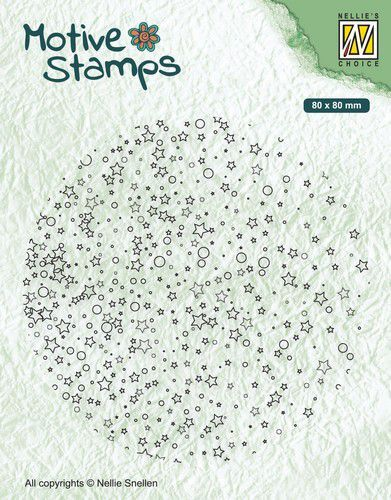 Nellies Choice Christmas Silhouette Clearstamp - Sterren & Stippen 80x80mm