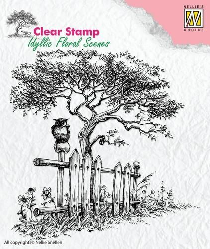 Nellie's Choice Clear Stamps idyllic floral scene Tree with fence