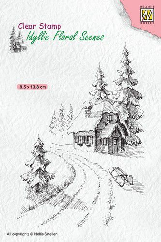 Nellies Choice clearstamp - Idyllic Floral - Winter huis 95x138mm