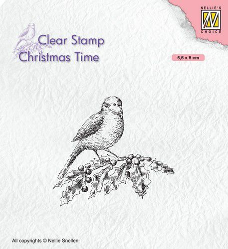 Nellies Choice Clearstempel - Christmas time - Vogel op hulst 56x50mm
