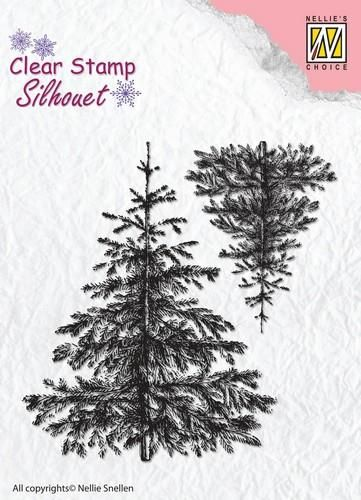 Nellie's Choice Silhouette Clear Stamps 2 Kerstbomen  72x28mm