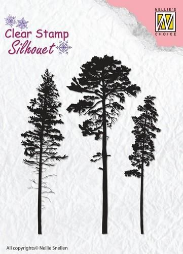 Nellie's Choice Silhouette Clear Stamps 3 naaldbomen  64x83mm
