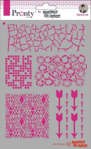 Pronty Mask Pattern backgrounds A5 by Jolanda