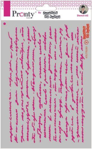 Pronty Mask stencil A5 Script text by Jolanda
