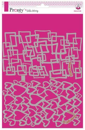 Pronty Stencil Hearts & Squares circles A4 Julia Woning
